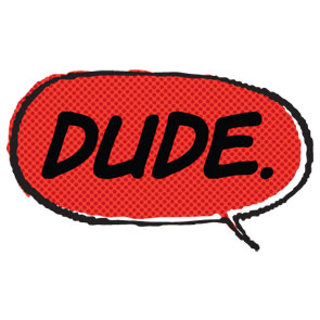 dude speech bubble red comics